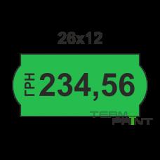 Этикет - лента 26х12мм зеленая (1000 шт)